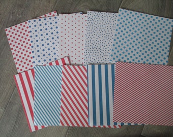 set of 10 sheets square 15 x 15 cm tri colors blue red white