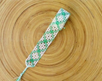 Ribbon bobbin lace in light green and ecru colors, custom hats, floral clutch bags, scrapbooking