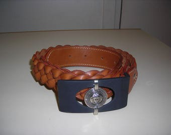 Women genuine leather belt braided 4 strands