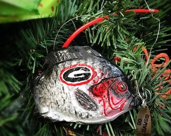 "Handmade Plaster Collegiate ""The Big Catch"" Ornament"