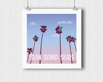 Sun Sand Surf poster - Palm tree sunset