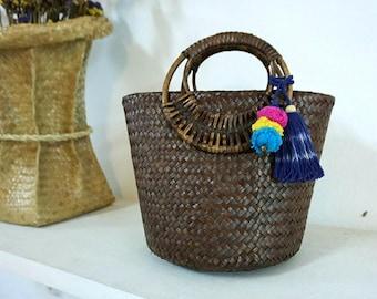 Straw Bag Pom Pom, Top Handles Bag Thai Weaving Seagrass (Krajood) Rattan Handles