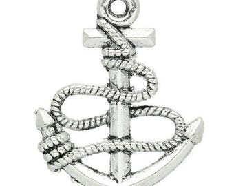 50 pendants 24x19mm anchor charms