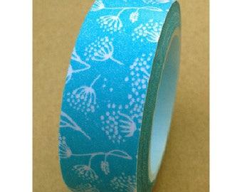 Washi tape (washi) - dandelion on blue background