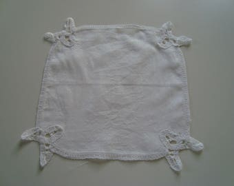 Vintage hankie, edged with vintage lace white doily Bunting