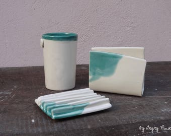 turquoise and white hand-made ceramic bathroom set