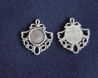 2 silver 12 mm cabochon