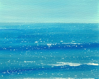Seascape, Acrylic on Paper, Original Art, 7x10 inches