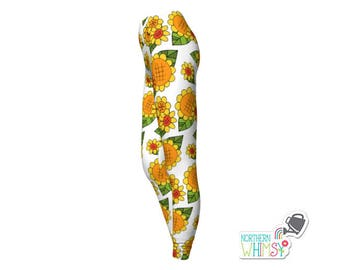 Sunflower Leggings - woment' floral leggings in yellow and white - US ladies' sizes XS, S, M, L, and XL