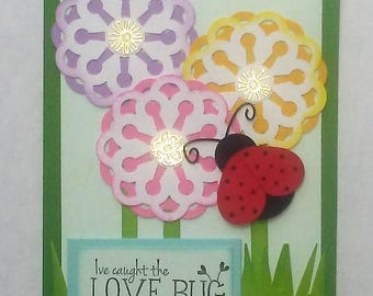 I've caught the Love Bug handmade card Just Because Love Valentines Day Anniversary
