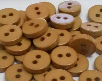 set of 10 vintage scrapbooking 11 mm Brown plastic buttons