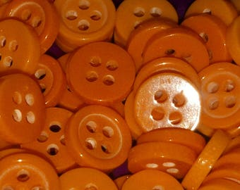 set of 10 round 4 hole buttons orange 9 mm scrapbooking