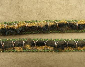 FANCY Ribbon - 1.5 cm - green & Brown