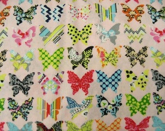 MULTICOLORED Butterfly - printed cotton fabric