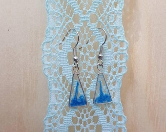 ON SALE Triangle blue resin silver earrings Free Shipping Nickel free
