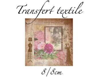 Transfer textiles vintage old retro pink frame on postcard 8 / 8cm