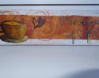 """Painted brick kitchen door plaque """"I love coffee""""-tile holder"""
