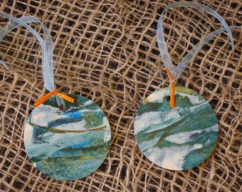 TAGS, set of 2, handpainted, unique pieces for place card tag gift etc.