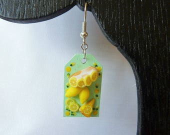 Earrings mini treats Board candy lemon cake pie designer jewelery