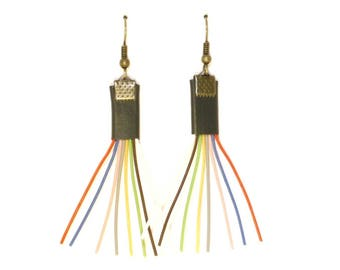 Multicolored recycled Wire Earrings