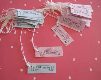 Tags, handmade, flowers, pink, blue