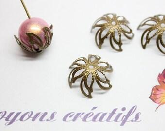 Lot 100 cups flowers 17mm bronze beads 20mm - SC27532-