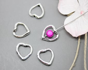 50 silver beads 14 mm - SC07788 heart frame-