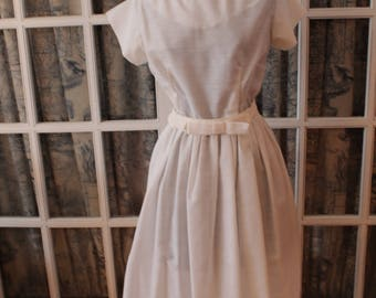 1950's White Lace Trimmed Dress With Matching Belt