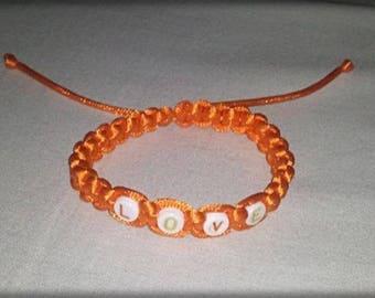 """Shamballa bracelet """"LOVE"""" in orange cord"""