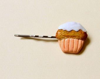 Peach color cupcake hair clip