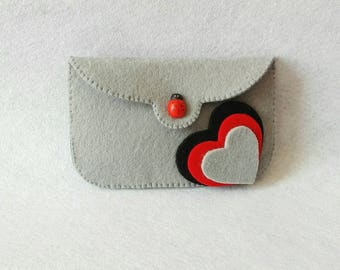 Gray coins holder with hearts felt gray coins with felt felt with Hearts