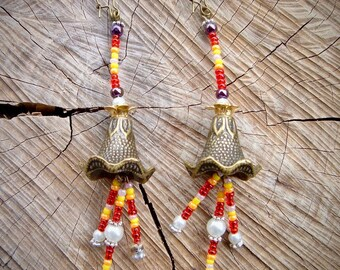 Earrings bronze Amparo, pearls, seed beads red yellow