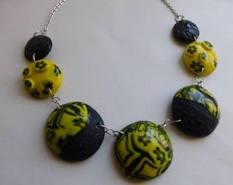 Yellow and blue polymer clay Choker necklace