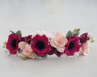 Berry Full Flower Crown // Felt Flower Crown