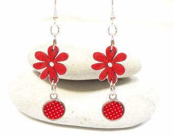 colorful earrings wood exotic flower dots