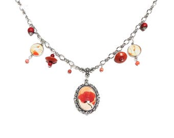 orange poppy necklace pendants