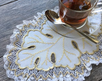 Large Leaf-Shaped White and Gold Embroidered Lace Doily
