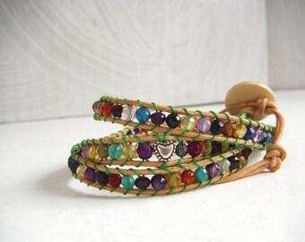 multicolored hearts bracelet silver chan luu hippie type/wrap bracelet