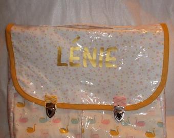 Waterproof backpack child kindergarten/elementary school girl Scandinavian style, pink and hand made customizable mustard