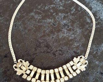 Vintage Silver Tone Rhinestone Necklace Repair