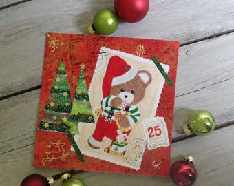 Double card red Pixie honey bear for Christmas