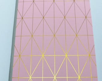 format A5 32 lined pages Notebook Pink and gold Leafs