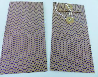 2 bright purple wave rectangular Pocket envelope and kraft Japanese closure