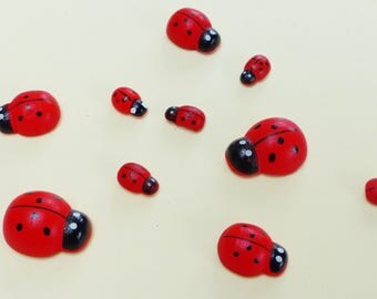 10 ladybugs wooden pad with 3 different sizes sticky pads