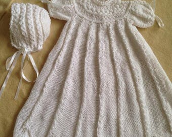 KNIT CHRISTENING Gown and Bonnet