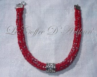 Knitted red, silver plated wire and metal Bead Bracelet