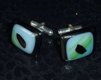 """Maestro"" fused glass cuff links"