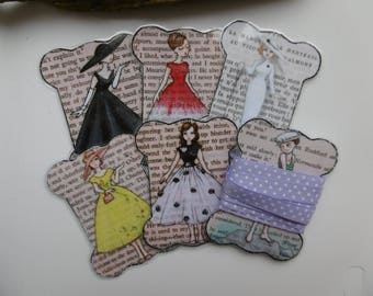 set of 6 laminated tags