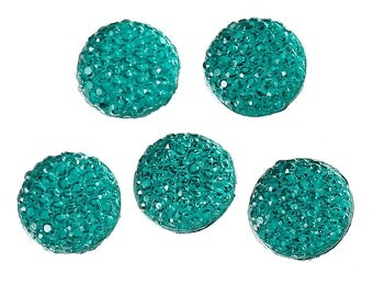 10 Green 12mm resin cabochons