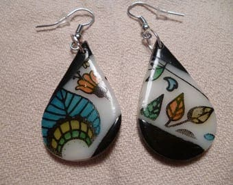 Earrings drop shape polymer clay.
